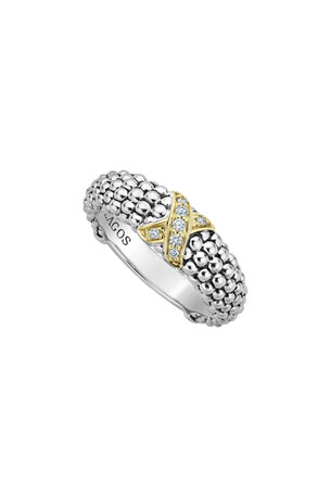 LAGOS Caviar Lux Diamond-X Ring w/ 18k Gold, Size 6-8