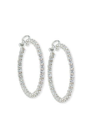 Fantasia by DeSerio Cubic Zirconia Hoop Earrings, Extra Large