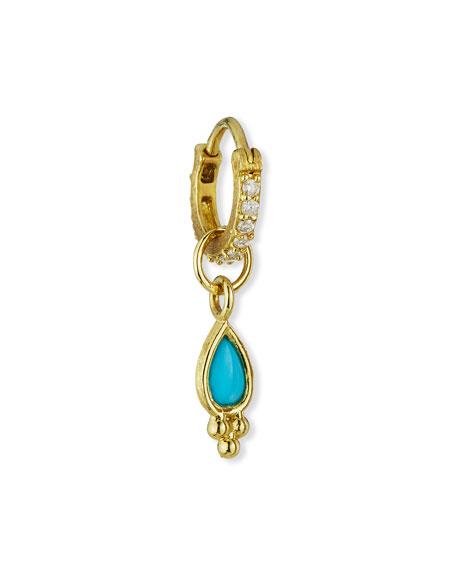 Jude Frances 18K Petite Turquoise Pear Quad Earring Charm, Single