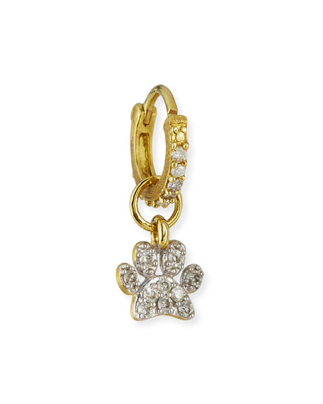 Jude Frances 18K Petite Diamond Pave Paw Earring Charm, Single
