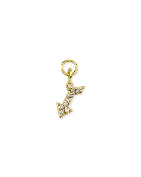 Jude Frances 18K Petite Pave Diamond Arrow Earring Charm, Single