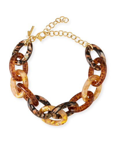 Acetate Cable-Link Necklace  Brown