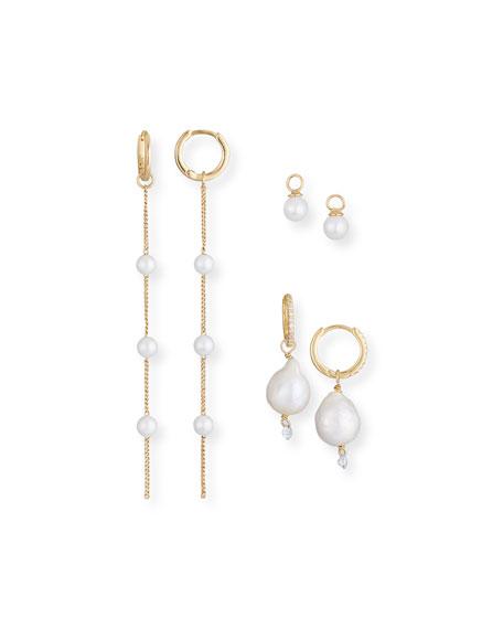 Tai Build-Your-Own Pearl Huggie Hoop Earring Set