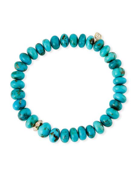Sydney Evan 14k Diamond Rondelle & Turquoise Bracelet