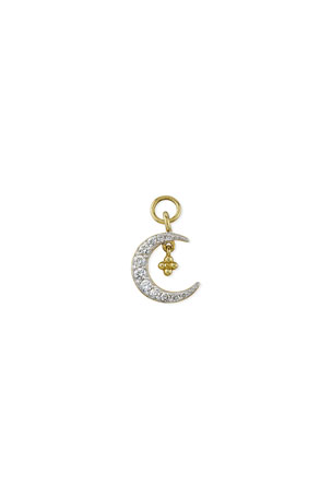 Jude Frances 18K Petite Pave Diamond Crescent Earring Charm, Single, Right