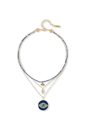 Sequin 3-Pendant Evil Eye Necklace