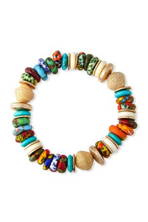 Akola Raffia, Bone and Glass Bead Stretch Bracelet