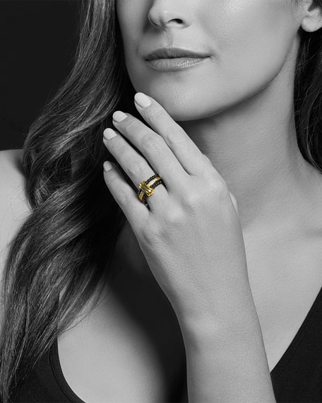 Image 4 of 5: Lagos Color Switch 18k Gold and Diamond Fluted Center Ceramic Ring Set