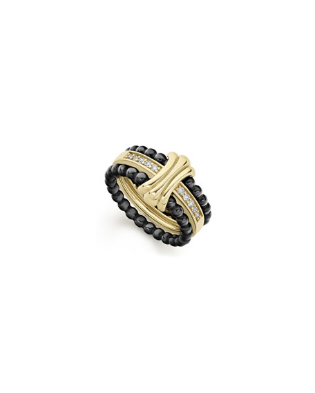 Image 1 of 5: Lagos Color Switch 18k Gold and Diamond Fluted Center Ceramic Ring Set