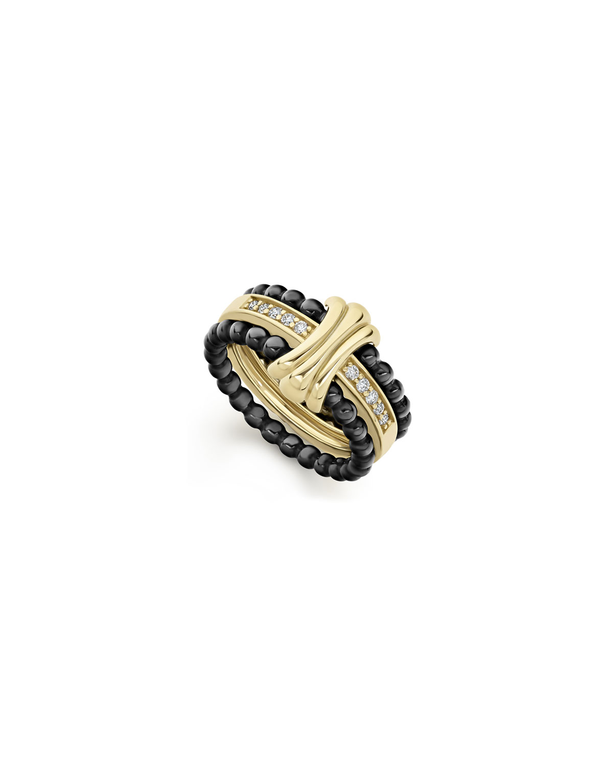 Lagos Color Switch 18k Gold and Diamond Fluted Center Ceramic Ring Set