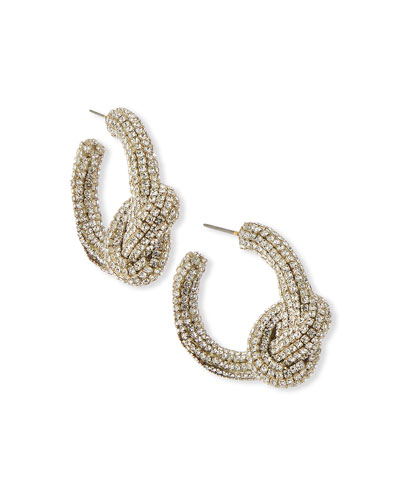 Oscar de la Renta Rhinestone Knot Hoop Earrings