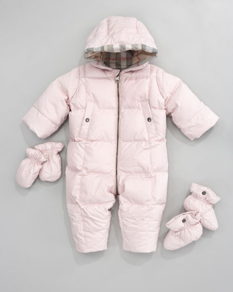 Hooded Snowsuit with Snap-On Mittens & Booties, Ice Pink