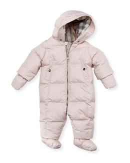 Burberry Hooded Snowsuit with Snap-On Mittens & Booties, Ice Pink