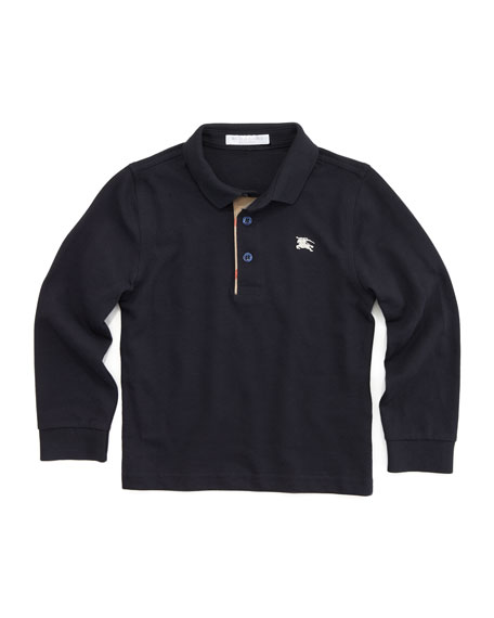 Check-Trim Long-Sleeve Polo, Navy