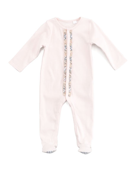 Burberry Elva Jersey Check-Trim Sleepsuit
