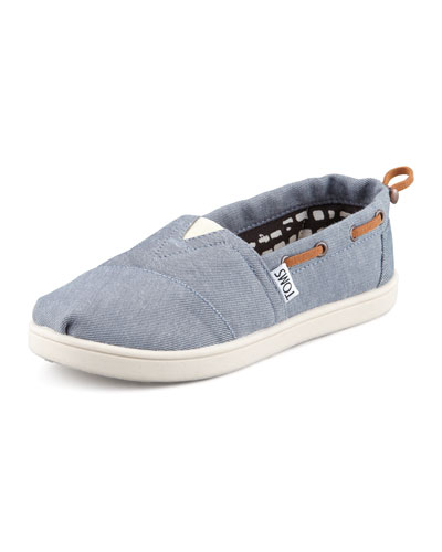 Youth Chambray Bimini Boat Shoe, Blue
