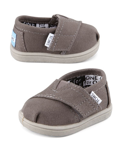 TOMS Classic Canvas Slip-On, Ash, Tiny