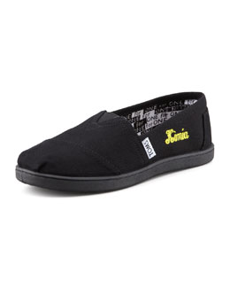 TOMS Personalized Classic Canvas Slip-On, Black, Youth