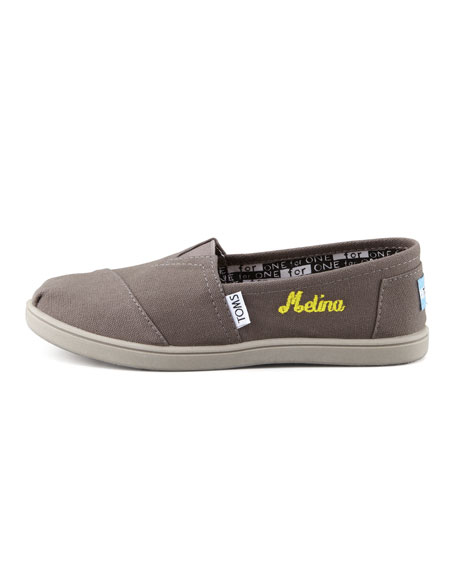 Personalized Classic Canvas Slip-On, Ash, Youth