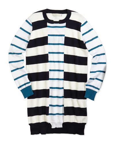 Striped Cotton/Cashmere Sweaterdress, 2Y-14Y
