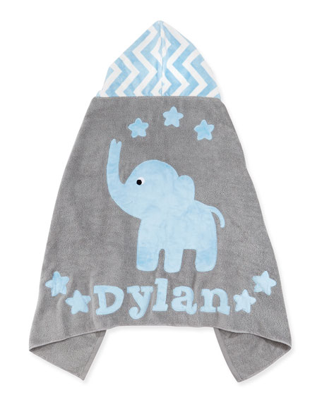 """Boogie Baby Personalized """"Big Foot"""" Elephant Hooded Towel, Blue `"""