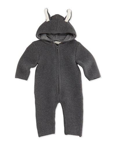Stella McCartney Hooded Knit Playsuit with Ears, Gray, 3-24 Months