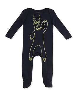 Stella McCartney Rufus Glow-in-the-Dark Monster Footie, Navy, 3-24 Months
