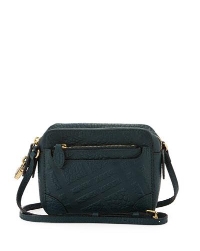Girls' Check-Embossed Leather Crossbody Bag
