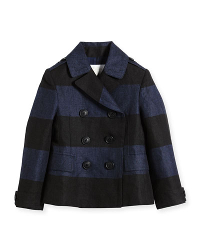 Striped Woven Linen Peacoat, Canvas Blue/Black, Size 4-14