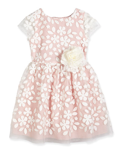 Faux-Leather Flower Dress, Pink, Size 2-8