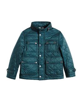 Diamond-Quilted Jacket w/ Zip-Away Hood, Teal, Size 4-14