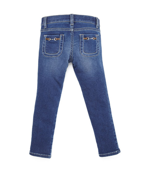 Gucci Terry-Lined Slim-Fit Denim Jeans, Sky Blue, Size 4-12