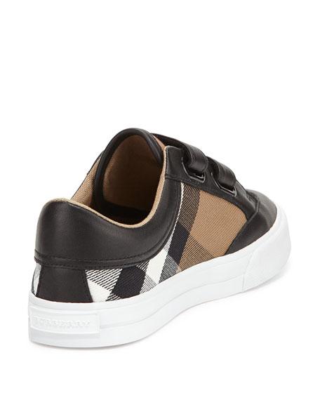 Heacham Mini Check Leather-Trim Sneaker, Black/Tan, Toddler/Youth Sizes 10T-4Y