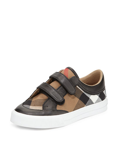 Heacham Mini Check Leather-Trim Sneaker, Black/Tan, Toddler/Youth Sizes 10T-4Y