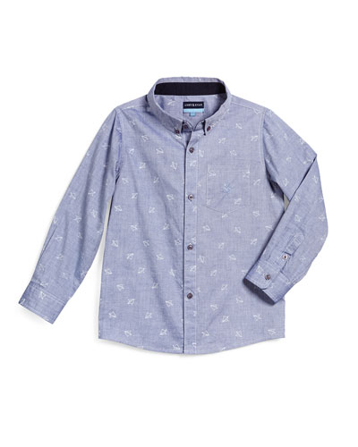 Paper Plane Chambray Button-Front Shirt, Blue, Size 2T-7Y