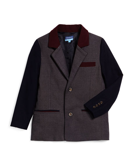 Andy & Evan Cotton Twill Colorblock Blazer, Gray/Navy/Maroon,