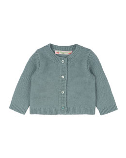 Crochet Button-Front Cardigan, Aqua Blue, Size Newborn-3 Months