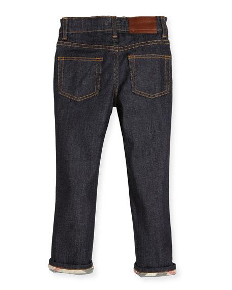 Faded Slim-Fit Stretch Jeans, Dark Indigo, Size 4-14