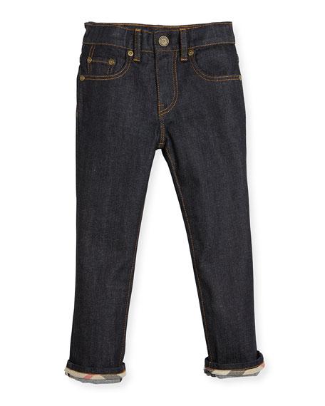 Burberry Faded Slim-Fit Stretch Jeans, Dark Indigo, Size