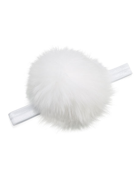 Stretch Pompom Headband, White