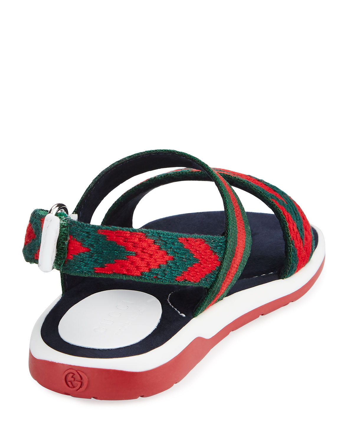 8d1cd5b0b Gucci Chevron Leather Sandals, Green/Red, Toddler | Neiman Marcus