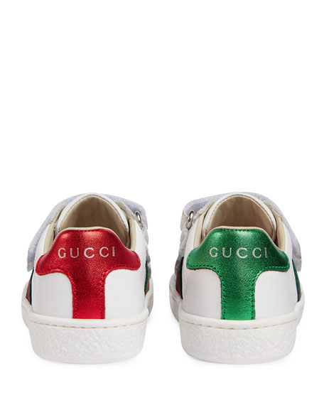 Leather Grip-Strap Sneakers, White, Toddler