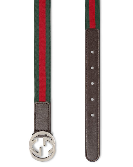 Kids' Adjustable Leather-Trim Belt, 20mm