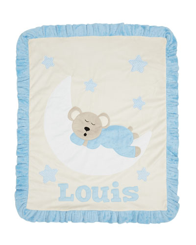 Personalized Goodnight Teddy Plush Blanket  Blue
