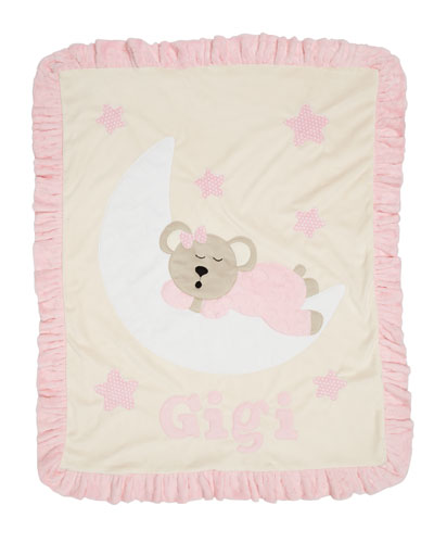 Personalized Goodnight Teddy Plush Blanket  Pink