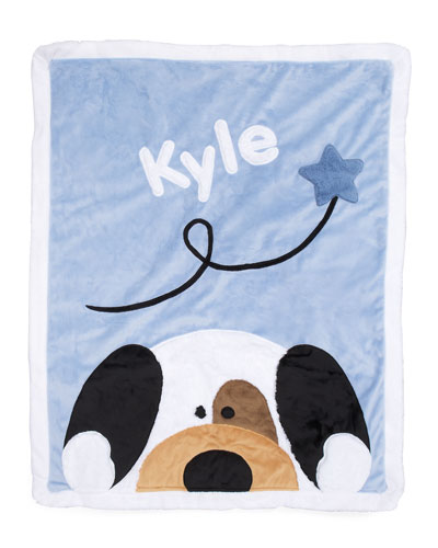Personalized Peek-a-Boo Puppy Plush Blanket  Blue