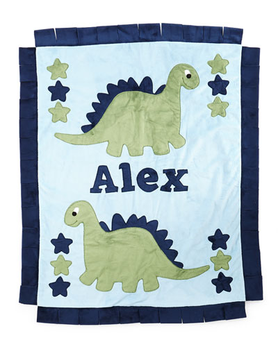 Personalized Dino the Dinosaur Plush Blanket  Blue/Green