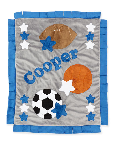 Personalized Good Sport Plush Blanket, Gray/Blue