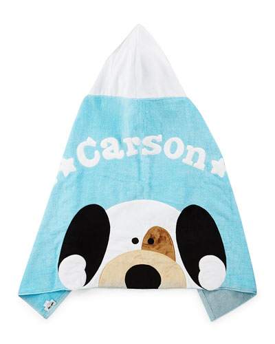 Personalized Peek-a-Boo Puppy Hooded Towel  Blue