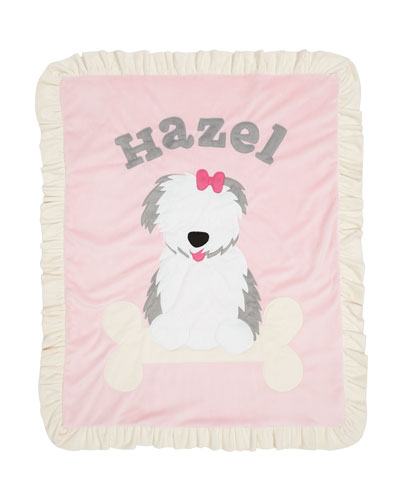 Personalized Puppy Love Plush Blanket  Pink